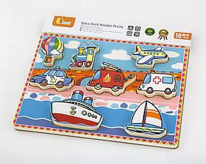 Розвиваючі і повчальні іграшки «Viga Toys» (56436) рамка-вкладиш Транспорт, фото 2