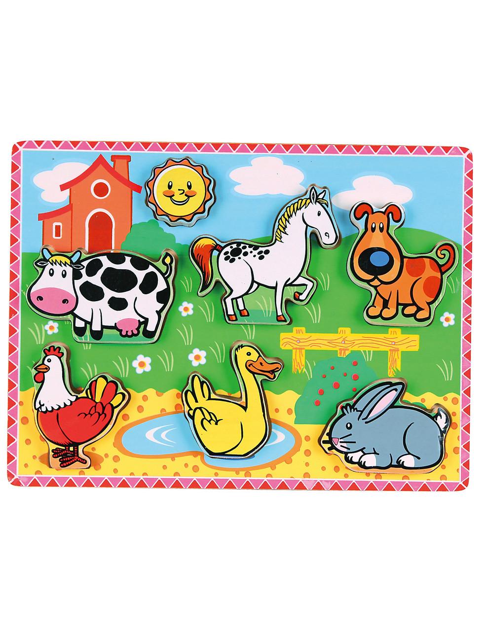 Розвиваючі і повчальні іграшки «Viga Toys» (56438) рамка-вкладиш З тваринами