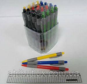 Ручка автоматическая пишет синим WZ-2070B (0.7мм) корпус ассорти