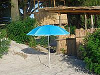 Пляжный зонт с наклоном 1,8 м с серебром голубой зонтик садовый