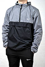 Анорак мужской Найк Nike серый с черным  Anorak ветровка