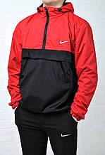 Анорак мужской Найк Nike красный с черным  Anorak ветровка