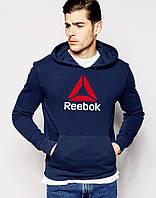 Кофта толстовка Reebok Рибок темно-синяя для парня с принтом Худи