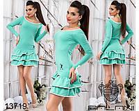 """Трикотажное платье с воланом и длинным рукавом  """"Евгения"""" размеры от 42 до 46"""