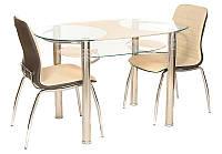 Стол обеденный овальный Т-211, хромированный каркас, стеклянная столешница с кремовым узором