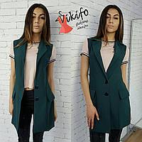 Жилет модный стильный на подкладке креп-костюмка 2 цвета Pf38