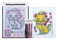 """Вышивка крестом """"Кошка"""" 20.5x27.5 см с цветным фоном и нитками 1 набор"""