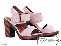 Босоножки женские бежевые на удобном каблуке, р 36