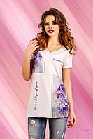 Удлиненная футболка  с коротким рукавом, цветочные рисунки по бокам