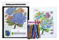 """Набор Вышивка крестом """"Розы"""" 20.5x27.5 см с цветным фоном и нитками 1 набор"""