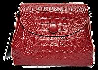Сумка женская из натуральной кожи на плечо красного цвета под крокодила GGD-826727
