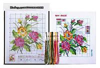 """Набор Вышивка крестом """"Букет цветов"""" 20.5x27.5 см с цветным фоном и нитками 1 набор"""