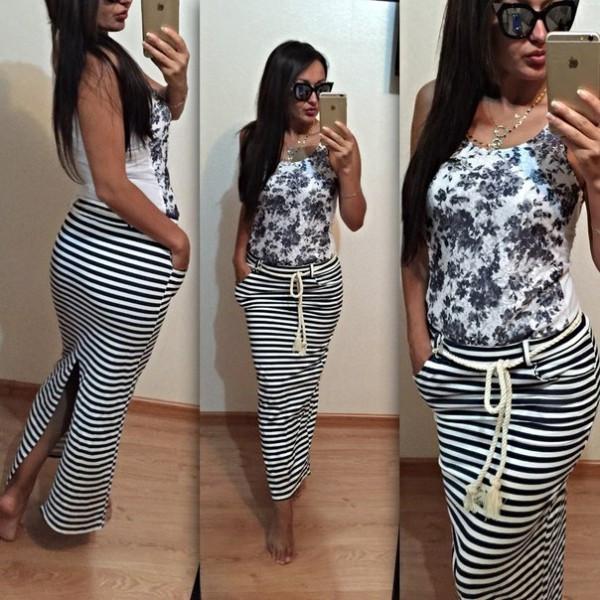 3efcbe0fd7a Длинная юбка в полоску  продажа
