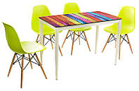 Стол обеденный прямоугольный Т-300-11 металлический каркас молочного цвета, каленое стекло цветная полоска