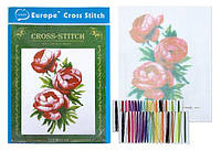 """Набор Вышивка крестом """"Роза чайная"""" 20x28 см с цветным фоном и нитками 1 набор"""