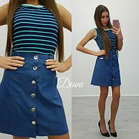 Джинсовая юбка короткая на пуговицах, с карманами