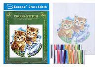 """Набор Вышивка крестом """"Котята"""" 20x28 см с цветным фоном и нитками 1 набор"""