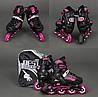 Роликовые коньки раздвижные Ролики детские BEST Black PU - мягкие колеса + переднее светятся, фото 5