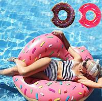 Надувной матрас круг пончик. 125 см. Цвета:малиновый