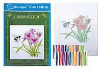"""Набор Вышивка крестом """"Лилии и пчела"""" 20x28 см с цветным фоном и нитками 1 набор"""