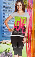 Женский комплект футболка+капри Турция. VOGUE 10043. Размер 44-46.