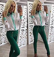 Современные брюки с завышенной талией декорированные пуговицами (3 расцветки)