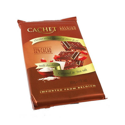 Молочный шоколад Сachet c карамелью и морской солью, 300 гр (Cachet Milk Chocolate 32% with Salted Caramel ), фото 2