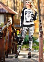 Трикотажные лосины, стилизованные под джинсовую ткань (р-ры S-3XL)