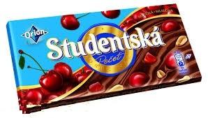 Молочный шоколад STUDENTSKA PECET с вишней и арахисом, 180 гр (Чехия)
