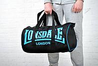Сумка Lonsdale Barrel Bag черная черные шлейки синие лого / nike / lonsdale