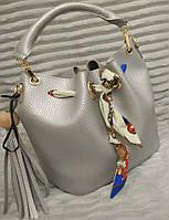 Модная женская сумка мешок эко-кожа серебрянная