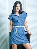 Модное джинсовое платье Лина в принт со звездочками