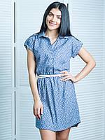 Модное джинсовое платье Лина с цветочным узором