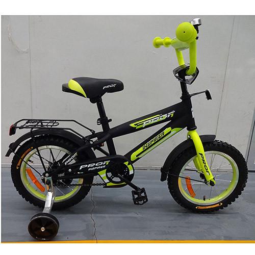 Двухколесный велосипед PROFI 14 дюймов G1451 Inspirer черно-салатовый матовый