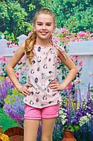 Летняя детская блузка Американка р. 116-134 персиковая
