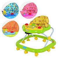 Ходунки Bambi JS 301, 4 цвета, муз, свет, панель съемная, 8 колес(5см), стопор, на бат-ке, 63-58-54см