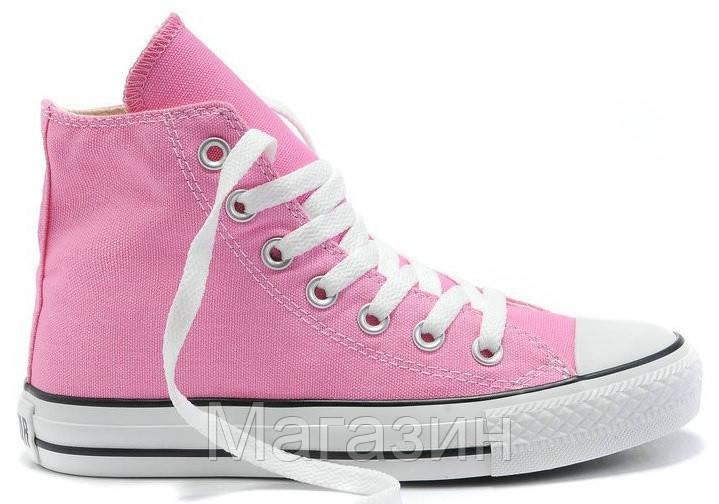 Женские высокие кеды Converse Chuck Taylor All Star (Конверс) в стиле  розовые 9c8bcc40c41