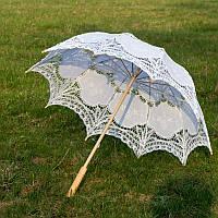 Свадебный кружевной зонт-трость для невесты (белый)