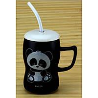 Кружка детская Панда с трубочкой и ложкой 4 вида  0,5 л
