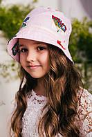 Детская панамка для девочки в розовую полоску