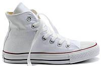 Женские высокие кеды Converse Chuck Taylor All Star White (Конверс) белые
