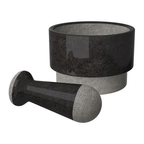 Ступка с пестиком ÄDELSTEN, мрамор черный 602.012.51