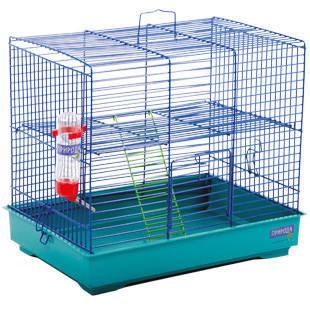 Клетка МИККИ С ЛЕСЕНКОЙ для мелких декоративных грызунов, хромированное, 37х28х30 см
