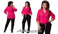 Костюм женский брюки и блуза креп шифон с удлиненной спинкой размеры 48-56