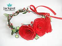 Яскравий вінок на голову з квітами ручна робота
