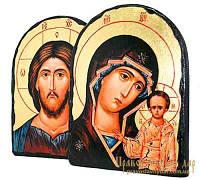 Венчальная пара под старину Пресвятая Богородица Казанская и Господь Вседержитель с позолотой 17x21 см арка