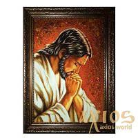 Янтарная икона Господь в молитве 20x30 см