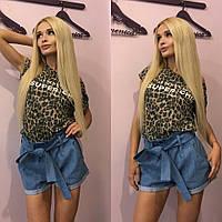 Женские  джинсовые шорты с поясом