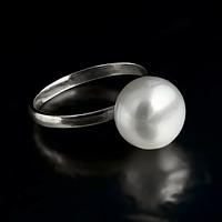 Жемчуг белый Ø11, серебро 925, кольцо, 412КЖ