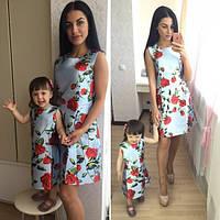 Платье для мамы и дочки из жаккарда с цветочным принтом (2 расцветки )